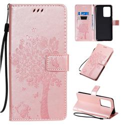 Embossing Butterfly Tree Leather Wallet Case for Samsung Galaxy S20 Ultra / S11 Plus - Rose Pink