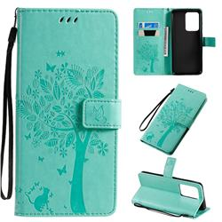 Embossing Butterfly Tree Leather Wallet Case for Samsung Galaxy S20 Ultra / S11 Plus - Cyan
