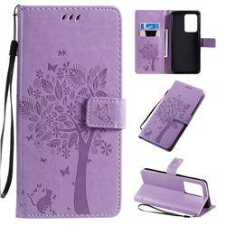 Embossing Butterfly Tree Leather Wallet Case for Samsung Galaxy S20 Ultra / S11 Plus - Violet