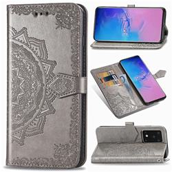 Embossing Imprint Mandala Flower Leather Wallet Case for Samsung Galaxy S20 Ultra / S11 Plus - Gray