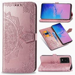 Embossing Imprint Mandala Flower Leather Wallet Case for Samsung Galaxy S20 Ultra / S11 Plus - Rose Gold