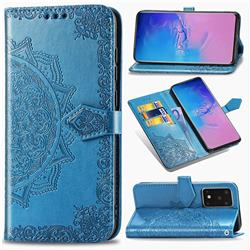 Embossing Imprint Mandala Flower Leather Wallet Case for Samsung Galaxy S20 Ultra / S11 Plus - Blue