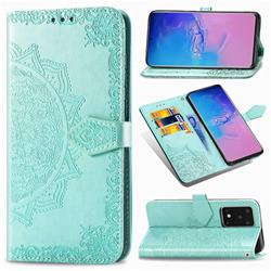 Embossing Imprint Mandala Flower Leather Wallet Case for Samsung Galaxy S20 Ultra / S11 Plus - Green