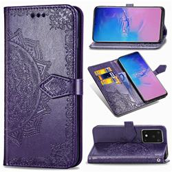 Embossing Imprint Mandala Flower Leather Wallet Case for Samsung Galaxy S20 Ultra / S11 Plus - Purple