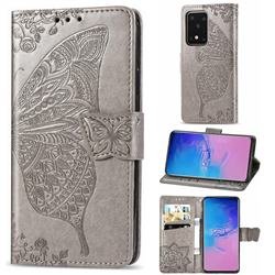 Embossing Mandala Flower Butterfly Leather Wallet Case for Samsung Galaxy S20 Ultra / S11 Plus - Gray