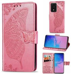 Embossing Mandala Flower Butterfly Leather Wallet Case for Samsung Galaxy S20 Ultra / S11 Plus - Pink