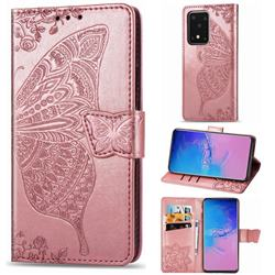 Embossing Mandala Flower Butterfly Leather Wallet Case for Samsung Galaxy S20 Ultra / S11 Plus - Rose Gold