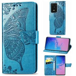 Embossing Mandala Flower Butterfly Leather Wallet Case for Samsung Galaxy S20 Ultra / S11 Plus - Blue