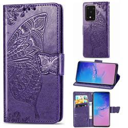 Embossing Mandala Flower Butterfly Leather Wallet Case for Samsung Galaxy S20 Ultra / S11 Plus - Dark Purple
