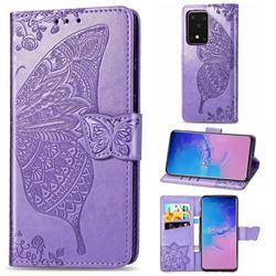 Embossing Mandala Flower Butterfly Leather Wallet Case for Samsung Galaxy S20 Ultra / S11 Plus - Light Purple