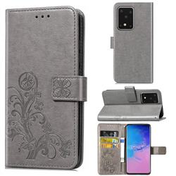 Embossing Imprint Four-Leaf Clover Leather Wallet Case for Samsung Galaxy S20 Ultra / S11 Plus - Grey