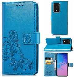 Embossing Imprint Four-Leaf Clover Leather Wallet Case for Samsung Galaxy S20 Ultra / S11 Plus - Blue