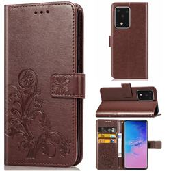 Embossing Imprint Four-Leaf Clover Leather Wallet Case for Samsung Galaxy S20 Ultra / S11 Plus - Brown
