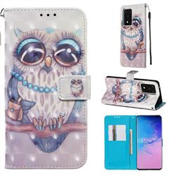 Sweet Gray Owl 3D Painted Leather Wallet Case for Samsung Galaxy S20 Ultra / S11 Plus