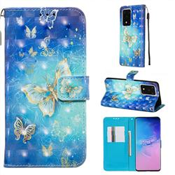 Gold Butterfly 3D Painted Leather Wallet Case for Samsung Galaxy S20 Ultra / S11 Plus