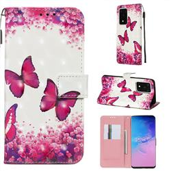 Rose Butterfly 3D Painted Leather Wallet Case for Samsung Galaxy S20 Ultra / S11 Plus