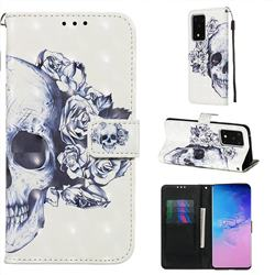 Skull Flower 3D Painted Leather Wallet Case for Samsung Galaxy S20 Ultra / S11 Plus
