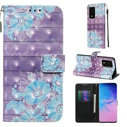 Blue Flower 3D Painted Leather Wallet Case for Samsung Galaxy S20 Ultra / S11 Plus