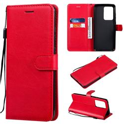 Retro Greek Classic Smooth PU Leather Wallet Phone Case for Samsung Galaxy S20 Ultra / S11 Plus - Red
