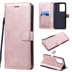 Retro Greek Classic Smooth PU Leather Wallet Phone Case for Samsung Galaxy S20 Ultra / S11 Plus - Rose Gold