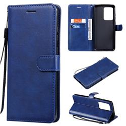 Retro Greek Classic Smooth PU Leather Wallet Phone Case for Samsung Galaxy S20 Ultra / S11 Plus - Blue
