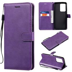 Retro Greek Classic Smooth PU Leather Wallet Phone Case for Samsung Galaxy S20 Ultra / S11 Plus - Purple
