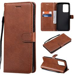 Retro Greek Classic Smooth PU Leather Wallet Phone Case for Samsung Galaxy S20 Ultra / S11 Plus - Brown