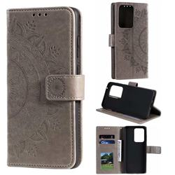 Intricate Embossing Datura Leather Wallet Case for Samsung Galaxy S20 Ultra / S11 Plus - Gray
