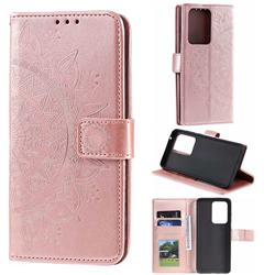 Intricate Embossing Datura Leather Wallet Case for Samsung Galaxy S20 Ultra / S11 Plus - Rose Gold