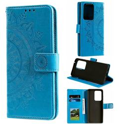 Intricate Embossing Datura Leather Wallet Case for Samsung Galaxy S20 Ultra / S11 Plus - Blue