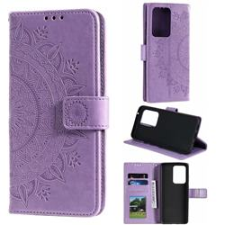 Intricate Embossing Datura Leather Wallet Case for Samsung Galaxy S20 Ultra / S11 Plus - Purple