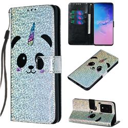 Panda Unicorn Sequins Painted Leather Wallet Case for Samsung Galaxy S20 Ultra / S11 Plus