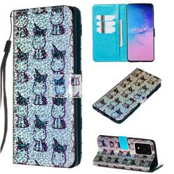 Little Unicorn Sequins Painted Leather Wallet Case for Samsung Galaxy S20 Ultra / S11 Plus