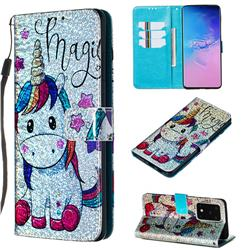 Star Unicorn Sequins Painted Leather Wallet Case for Samsung Galaxy S20 Ultra / S11 Plus