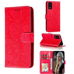 Intricate Embossing Lace Jasmine Flower Leather Wallet Case for Samsung Galaxy S20 Ultra / S11 Plus - Red