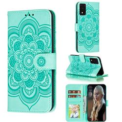 Intricate Embossing Datura Solar Leather Wallet Case for Samsung Galaxy S20 Ultra / S11 Plus - Green
