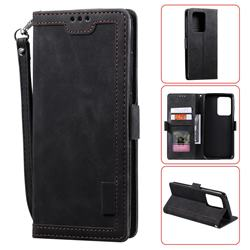 Luxury Retro Stitching Leather Wallet Phone Case for Samsung Galaxy S20 Ultra / S11 Plus - Black