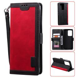 Luxury Retro Stitching Leather Wallet Phone Case for Samsung Galaxy S20 Ultra / S11 Plus - Deep Red