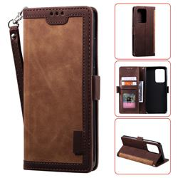 Luxury Retro Stitching Leather Wallet Phone Case for Samsung Galaxy S20 Ultra / S11 Plus - Dark Brown