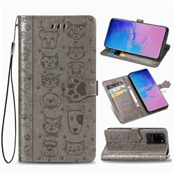 Embossing Dog Paw Kitten and Puppy Leather Wallet Case for Samsung Galaxy S20 Ultra / S11 Plus - Gray