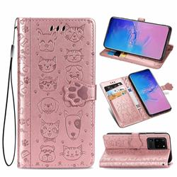 Embossing Dog Paw Kitten and Puppy Leather Wallet Case for Samsung Galaxy S20 Ultra / S11 Plus - Rose Gold