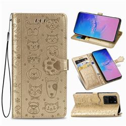 Embossing Dog Paw Kitten and Puppy Leather Wallet Case for Samsung Galaxy S20 Ultra / S11 Plus - Champagne Gold