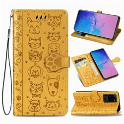 Embossing Dog Paw Kitten and Puppy Leather Wallet Case for Samsung Galaxy S20 Ultra / S11 Plus - Yellow