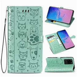 Embossing Dog Paw Kitten and Puppy Leather Wallet Case for Samsung Galaxy S20 Ultra / S11 Plus - Green