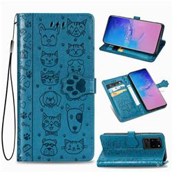 Embossing Dog Paw Kitten and Puppy Leather Wallet Case for Samsung Galaxy S20 Ultra / S11 Plus - Blue