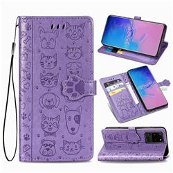 Embossing Dog Paw Kitten and Puppy Leather Wallet Case for Samsung Galaxy S20 Ultra / S11 Plus - Purple