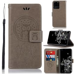 Intricate Embossing Owl Campanula Leather Wallet Case for Samsung Galaxy S20 Ultra / S11 Plus - Grey