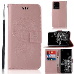 Intricate Embossing Owl Campanula Leather Wallet Case for Samsung Galaxy S20 Ultra / S11 Plus - Rose Gold