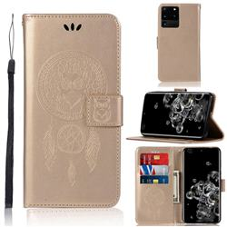 Intricate Embossing Owl Campanula Leather Wallet Case for Samsung Galaxy S20 Ultra / S11 Plus - Champagne
