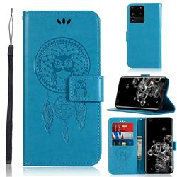 Intricate Embossing Owl Campanula Leather Wallet Case for Samsung Galaxy S20 Ultra / S11 Plus - Blue